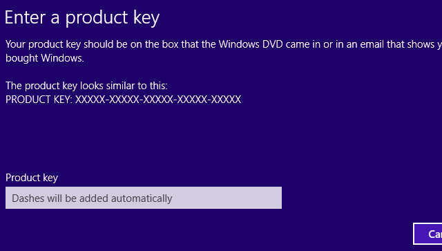 Windows 8.1 Product Key Dialog