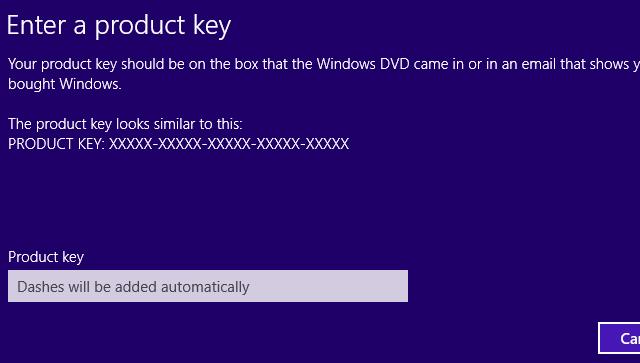 Windows 8.1 Product Key Dialog