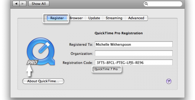 QuickTime Serial Key