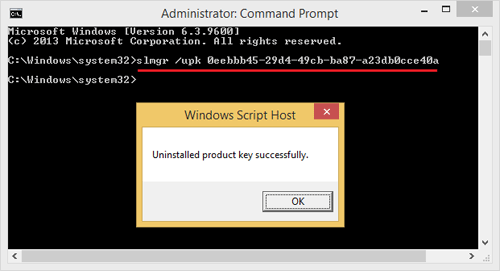 deactivate and uninstall Windows Product Key